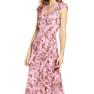 NEW Love Fire Floral Paisley Midi Wrap Dress